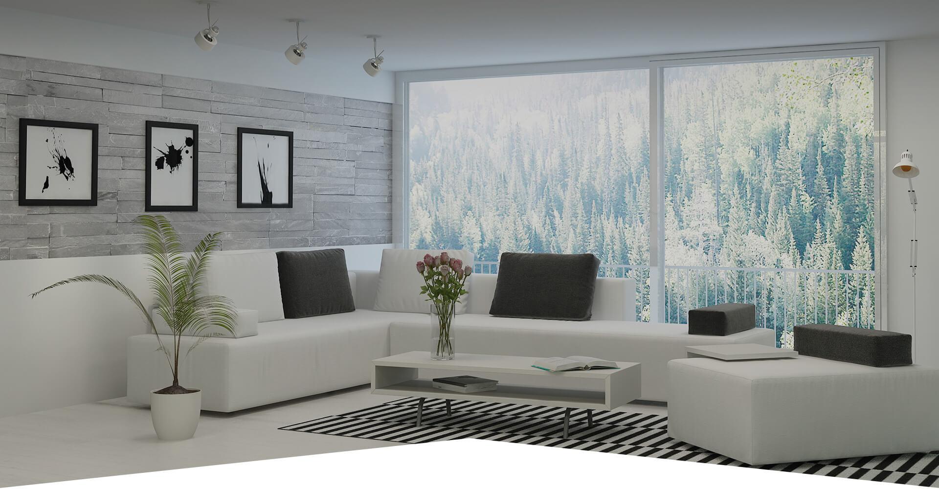 Photo d'un salon avec de grande fenêtre